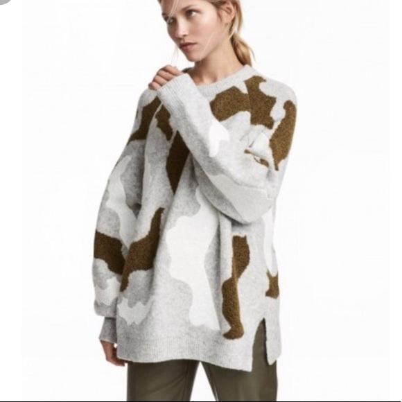 e9889afa21b1 H M Jacquard Camo Knit Sweater